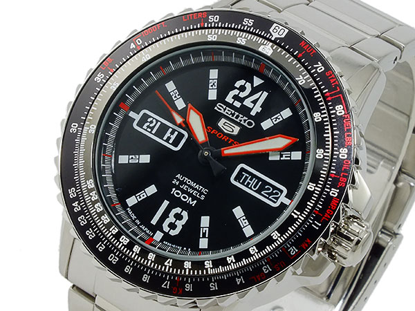 SEIKO 5 SPORTS スポーツ 逆輸入 自動巻き 日本製 メンズ 腕時計 SRP353J1 ブラック×シルバー メタルベルト-1