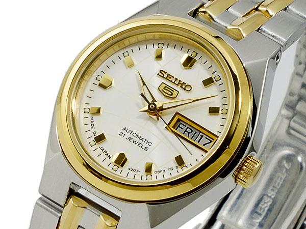 SEIKO 5 セイコー5 逆輸入 日本製 レディース 自動巻き 腕時計 SYMK44J1 ゴールド×シルバー メタルベルト ブレスレット-1
