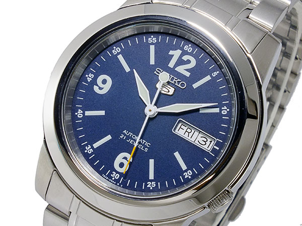 SEIKO 5 セイコー5 逆輸入 自動巻き メンズ 腕時計 SNKE61K1 ブルー×シルバー メタルベルト-1