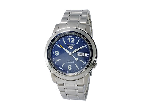 SEIKO 5 セイコー5 逆輸入 自動巻き メンズ 腕時計 SNKE61K1 ブルー×シルバー メタルベルト-2