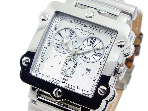 ドルチェメディオ DOLCE MEDIO メンズ クロノグラフ 腕時計 DM8018-WHBR ホワイト×シルバー ブラウン レザーベルト-1