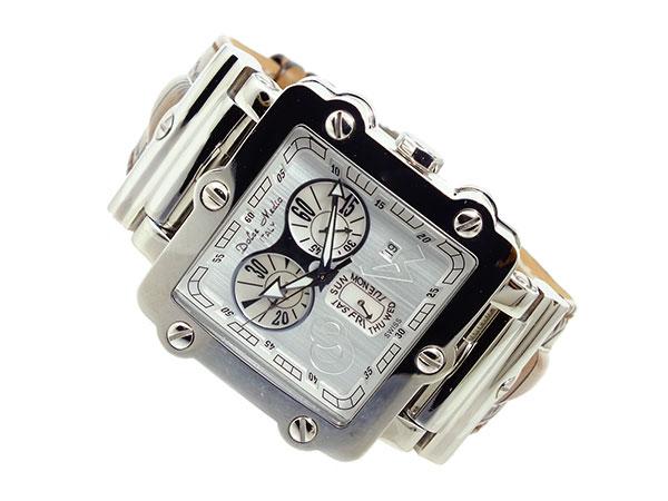 ドルチェメディオ DOLCE MEDIO メンズ クロノグラフ 腕時計 DM8018-WHBR ホワイト×シルバー ブラウン レザーベルト-2
