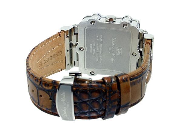 ドルチェメディオ DOLCE MEDIO メンズ クロノグラフ 腕時計 DM8018-WHBR ホワイト×シルバー ブラウン レザーベルト-3