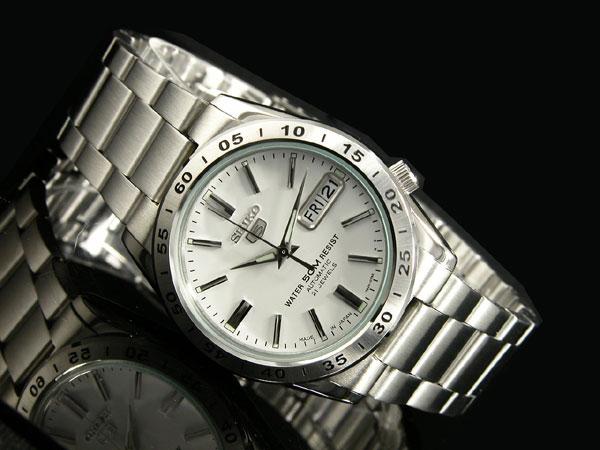 SEIKO 5 セイコー5 逆輸入 日本製 自動巻き メンズ 腕時計SNKD97J1 ホワイト×シルバー メタルベルト-2