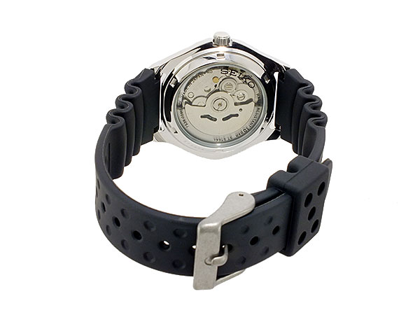 セイコー 5 SEIKO 5 SPORTS 海外モデル 日本製 自動巻き メンズ 腕時計 SNZ449J2 ブラック ラバーベルト-3