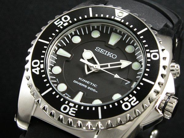 セイコー SEIKO キネティック KINETIC 腕時計 ダイバーズ SKA371P2 メンズ ブラック ラバーベルト-1