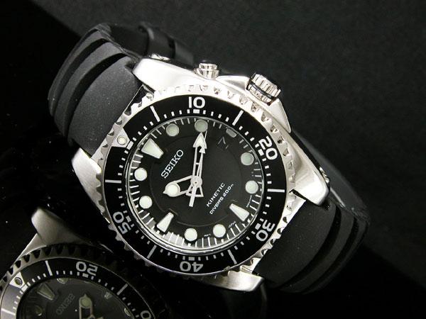 セイコー SEIKO キネティック KINETIC 腕時計 ダイバーズ SKA371P2 メンズ ブラック ラバーベルト-2