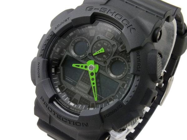 カシオ CASIO Gショック G-SHOCK アナデジ メンズ 腕時計 GA-100C-1A3 ブラック×グリーン ラバーベルト-1