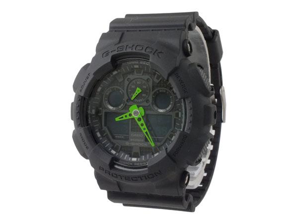 カシオ CASIO Gショック G-SHOCK アナデジ メンズ 腕時計 GA-100C-1A3 ブラック×グリーン ラバーベルト-2