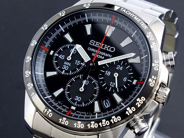 セイコー SEIKO 逆輸入 クロノグラフ メンズ 腕時計 SSB031P1 ブラック×シルバー メタルベルト-1
