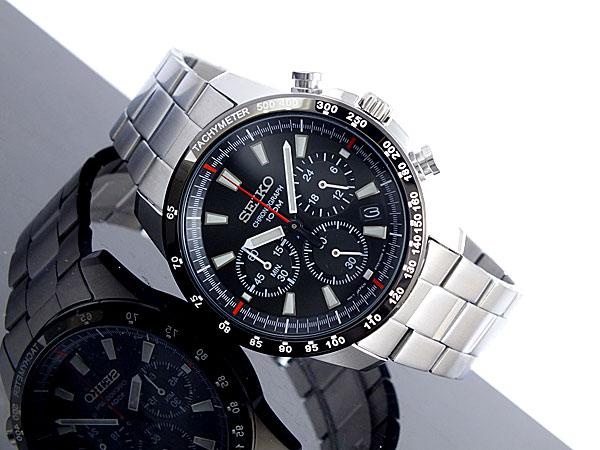 セイコー SEIKO 逆輸入 クロノグラフ メンズ 腕時計 SSB031P1 ブラック×シルバー メタルベルト-2