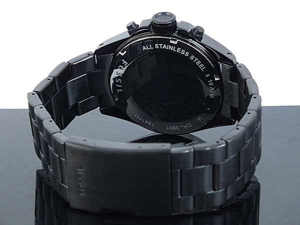 フォッシル FOSSIL クロノグラフ クオーツ 腕時計 CH2601 メンズ ブラック メタルベルト-3