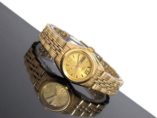 SEIKO 5 セイコー5 日本製 海外モデル レディース 自動巻き 腕時計 SYMA60J1 ゴールド メタルベルト ブレスレット-2