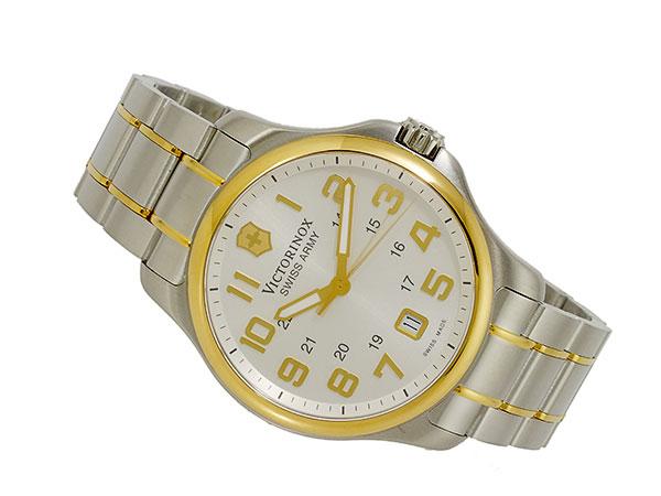 ビクトリノックス VICTORINOX スイス製 クォーツ メンズ 腕時計 241362 ホワイト ゴールド×シルバー メタルベルト-2