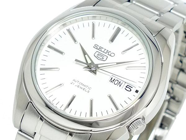 SEIKO 5 セイコー5 海外モデル 日本製 自動巻き メンズ 腕時計 SNKL41J1 ホワイト×シルバー メタルベルト-1