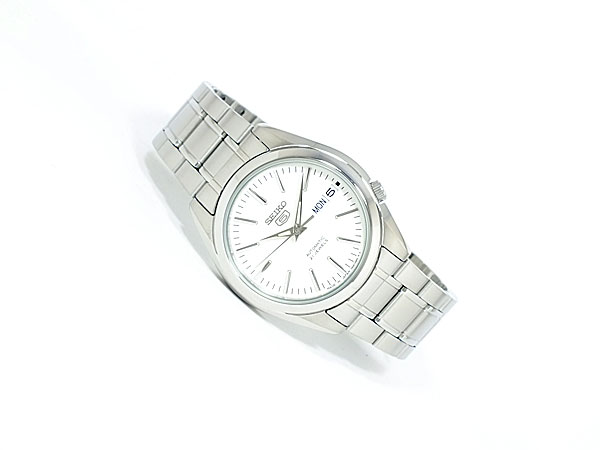 SEIKO 5 セイコー5 海外モデル 日本製 自動巻き メンズ 腕時計 SNKL41J1 ホワイト×シルバー メタルベルト-2