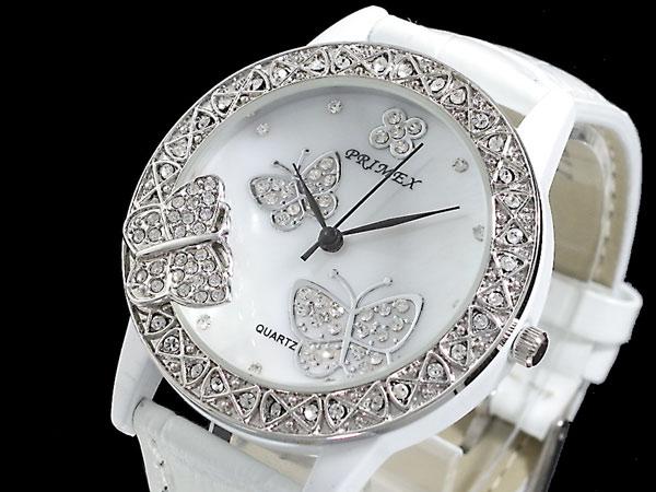 PRIMEX プリメックス バタフライ 蝶 腕時計 レディース PX-2541-WH ホワイト×シルバー レザーベルト-1