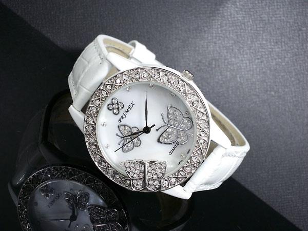 PRIMEX プリメックス バタフライ 蝶 腕時計 レディース PX-2541-WH ホワイト×シルバー レザーベルト-2