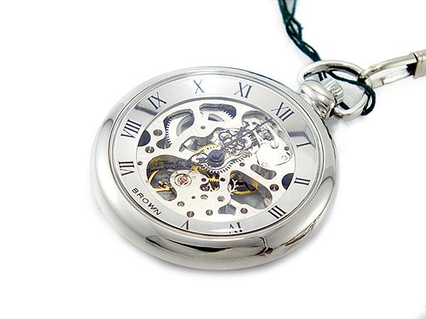 ブラウン BRAUN スケルトン 手巻き 懐中時計 シルバー ローマ数字 メンズ BN-925J-WW -1