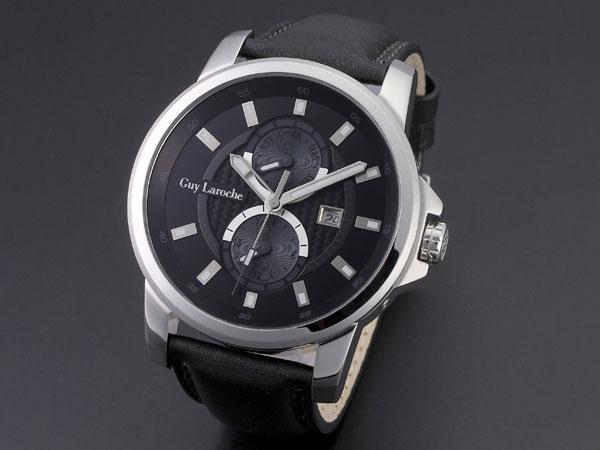 Guy Laroche ギラロッシュ マルチファンクション メンズ 腕時計 G3001-01 ブラック×シルバー レザーベルト-1
