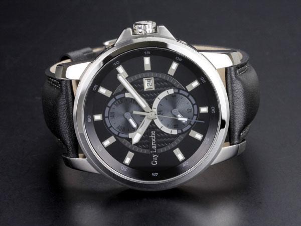 Guy Laroche ギラロッシュ マルチファンクション メンズ 腕時計 G3001-01 ブラック×シルバー レザーベルト-2