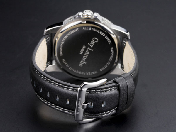 Guy Laroche ギラロッシュ マルチファンクション メンズ 腕時計 G3001-01 ブラック×シルバー レザーベルト-3