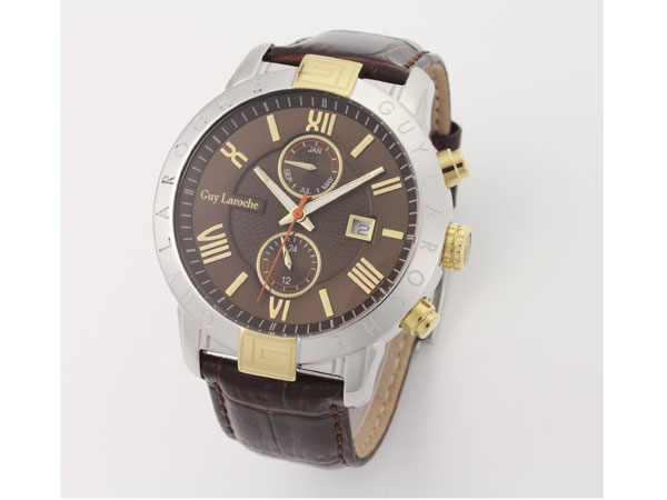 Guy Laroche ギラロッシュ マルチファンクション メンズ 腕時計 G3006-02 ブラウン×ゴールド レザーベルト-1