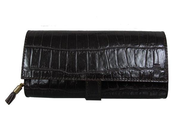 FELISE フェリージ 二つ折り イタリア製 クロコ型押し レザー 財布 長財布 3005 モカ-1