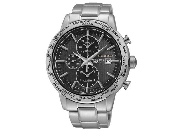 セイコー SEIKO 海外モデル ワールドタイム アラーム GMT メンズ 腕時計 SPL049P1 ブラック×シルバー メタル-1