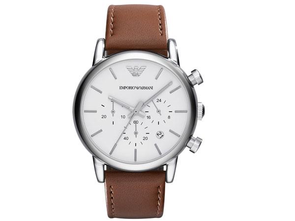 エンポリオ アルマーニ EMPORIO ARMANI 腕時計 AR1846 メンズ ホワイト×ブラウン レザーベルト-1