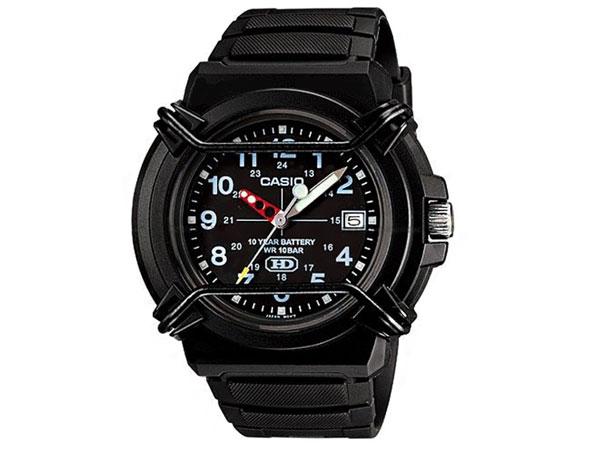 カシオ CASIO STANDARD スタンダード 逆輸入 10年電池 メンズ 腕時計 HDA-600B-1B ブラック ラバーベルト-1