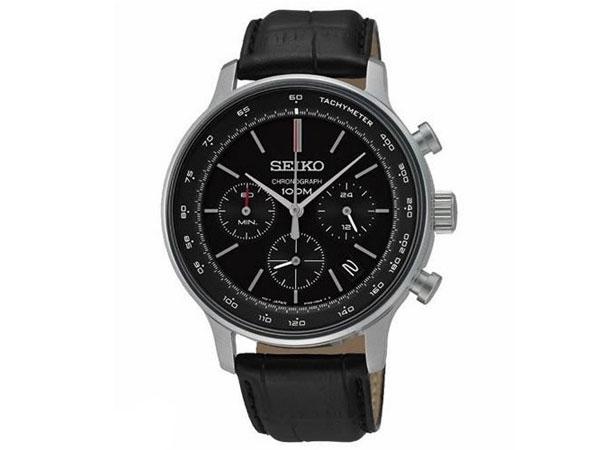 セイコー SEIKO 逆輸入 クロノグラフ メンズ 腕時計 SSB171P1 ブラック レザーベルト-1