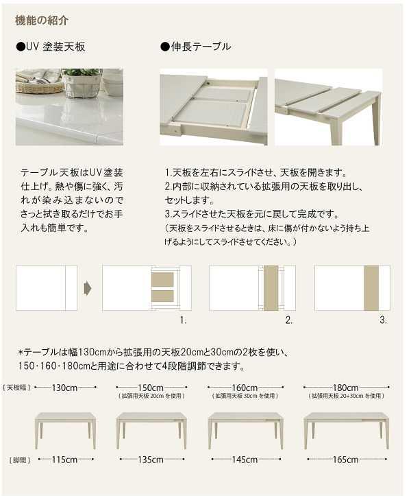130伸長テーブル ABBY 食堂テーブル 食卓 UV塗装 白色 エクステンション 4本脚 モダン シンプル