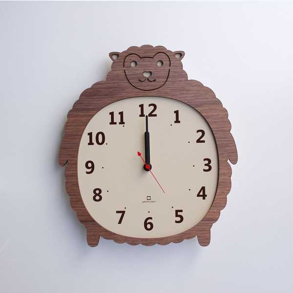 YK14-003 Clock Zoo クロックズー ゴリラ ヒツジ クマ 掛け時計 ウォールクロック 壁掛け 木目 北欧 新築 引っ越し 新居 新店 プレゼント