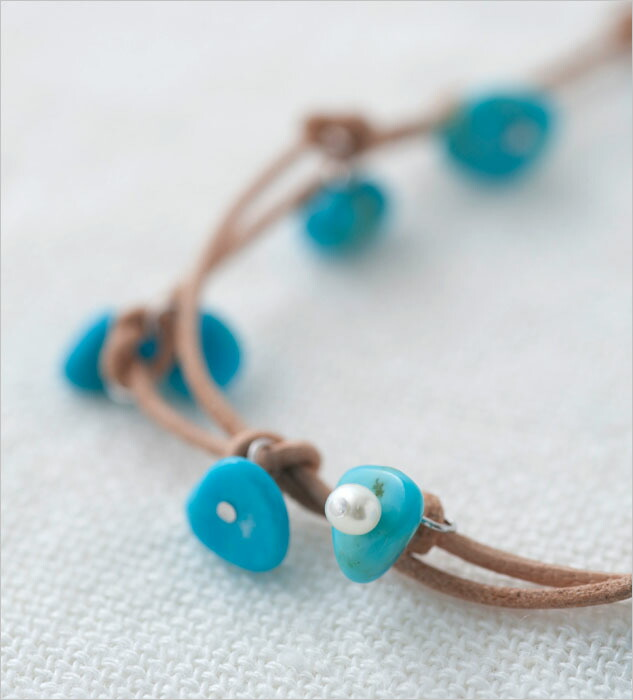 【C&K Accessories】シーアンドケー アクセサリー 革ひもターコイズネックレス ロング