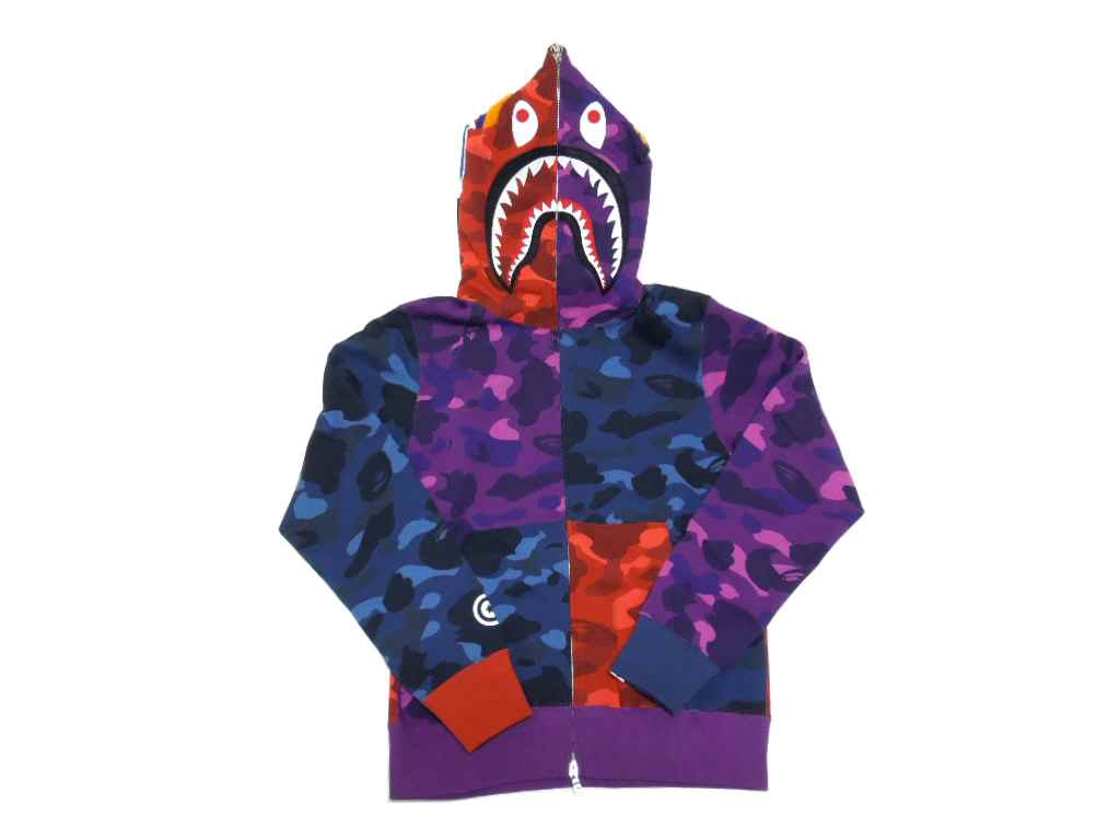 bb995c582656 Product Information. See the original Japanese page. A BATHING APE( エイプ) COLOR  CAMO CRAZY SHARK (shark) FULL ZIP HOODIE BAPE ...