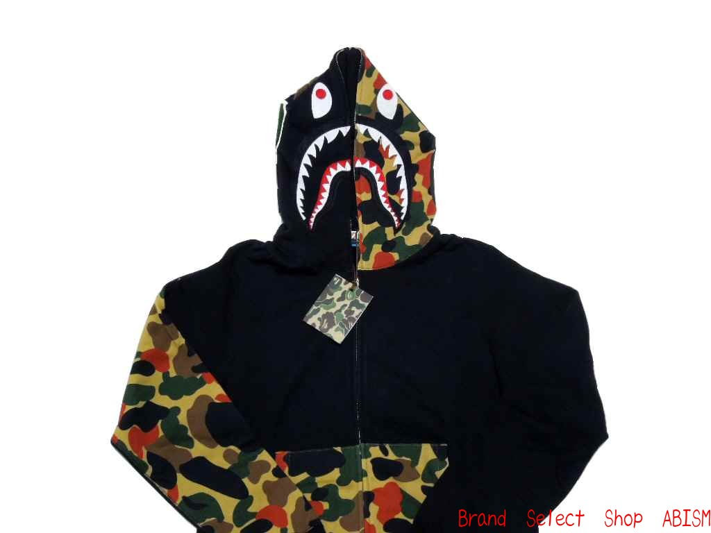 A BATHING APE (APE) NW20 APEMAN CAMO SHARK FULL ZIP HOODIE with signature  エイプマンカモ shark フルジップフーディー (Parker) NW20 DrawString bag with! 74d9bd715568