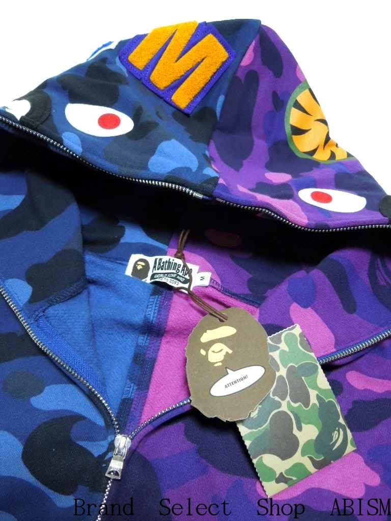 47691de3 COLOR CAMO HALF & HALF SHARK FULL ZIP HOODIE Shark Full Zip Hoodie [Navy / purple  CAMO] [Made in Japan] [New] BAPE (BAPE)