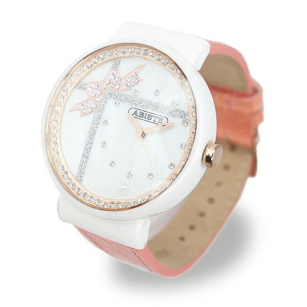 ABISTE(アビステ) リボン&レースモチーフフェイスベルト時計/ピンク 9400022P/PK