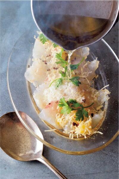 白身魚の熱々カルパッチョ