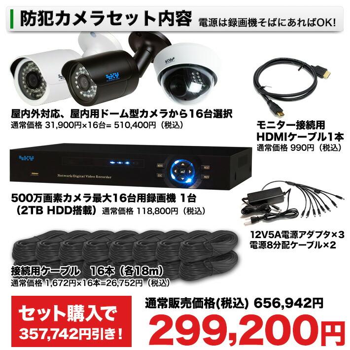 防犯カメラ 監視カメラ 500万画素16台セット内容