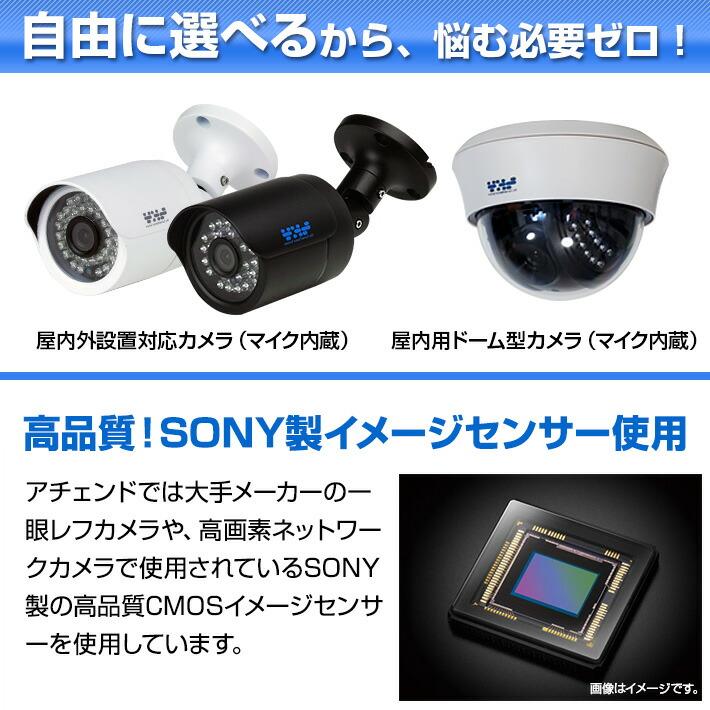 屋内屋外カメラが自由に選べます。