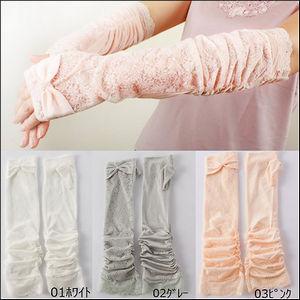 夏の必需品☆リボン付きレースロング手袋