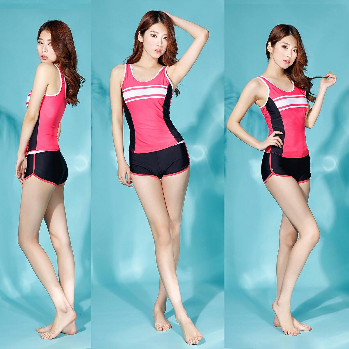 UVカットフィットネス水着 七分袖 紫外線防止 レディース 水着日焼け防止カラーフィットネスウェア