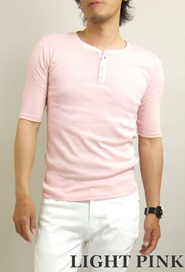 ヘンリー5分袖Tシャツ