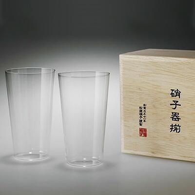 松徳硝子 うすはり タンブラー (木箱入り) 2個セット 【 グラス コップ ビールグラス ギフト 】 2741020 M