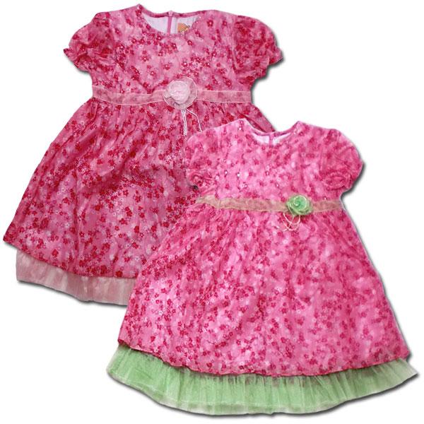 【インポート子供服】ワッシャー加工の入ったお花のシフォン生地が可愛いワンピース