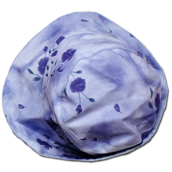 【インポート子供服】パープルロマンスエレガントな花柄のお帽子で正統派お嬢様の気品を纏う