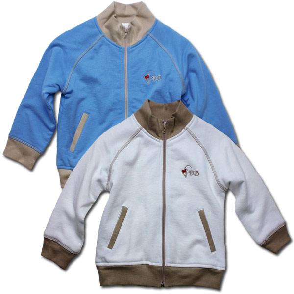 【インポート子供服】刺繍が可愛いシンプルなジップアップニットジャケットで王子様の気分を味わう。