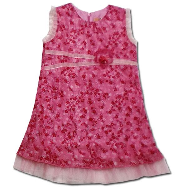 【インポート子供服】脚長さんに見える綺麗なシルエットが魅力 柔らかシフォンの可愛らしい花柄ワンピースでお嬢様の気品を纏う